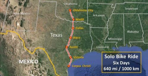 Updated Texas Trip Map: Oklahoma City to Corpus Christi