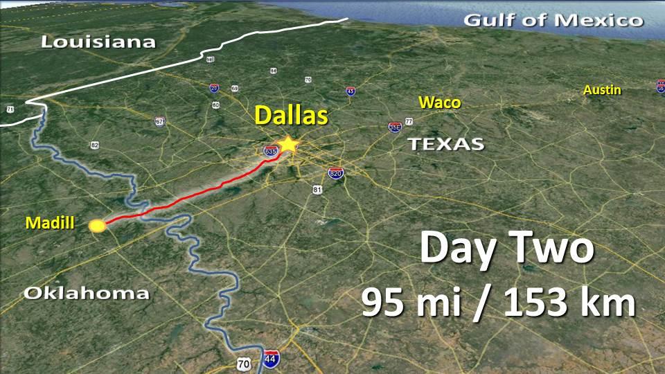 Day 2 – Madill OK to Dallas TX – 95mi / 153km