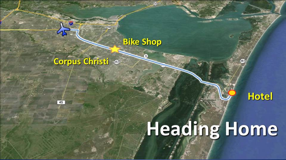 Time to go home – North Padre Island to Corpus Christi Airport